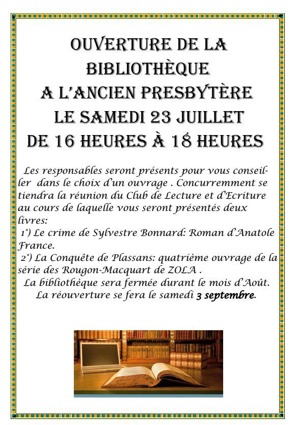 Ouverture Bibliothèque 23-07-2016